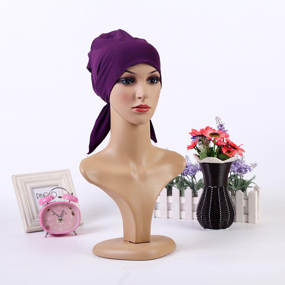 2017 Nouvelle Arrivée style Simple Polyester Musulman Foulard Doux Tête Wrap Hijab/Écharpe/Cap pour Islamique Femmes et fille 10 Couleurs
