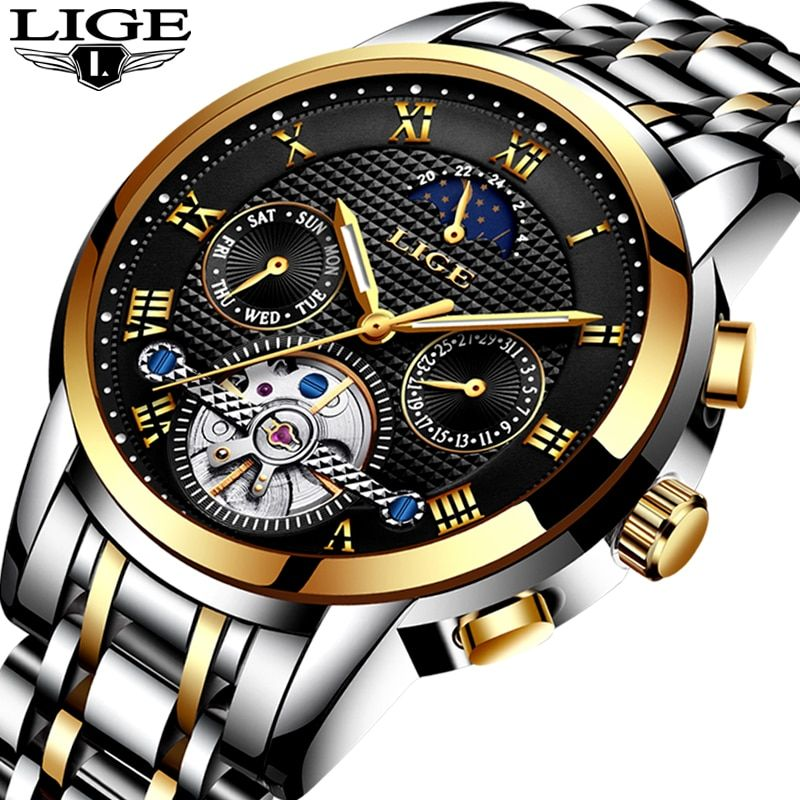 Mens Watches Top Brand LIGE Luxury Business Automatic Watch Men's Stainless Steel Waterproof Sports Watch Relogio Masculino+Box