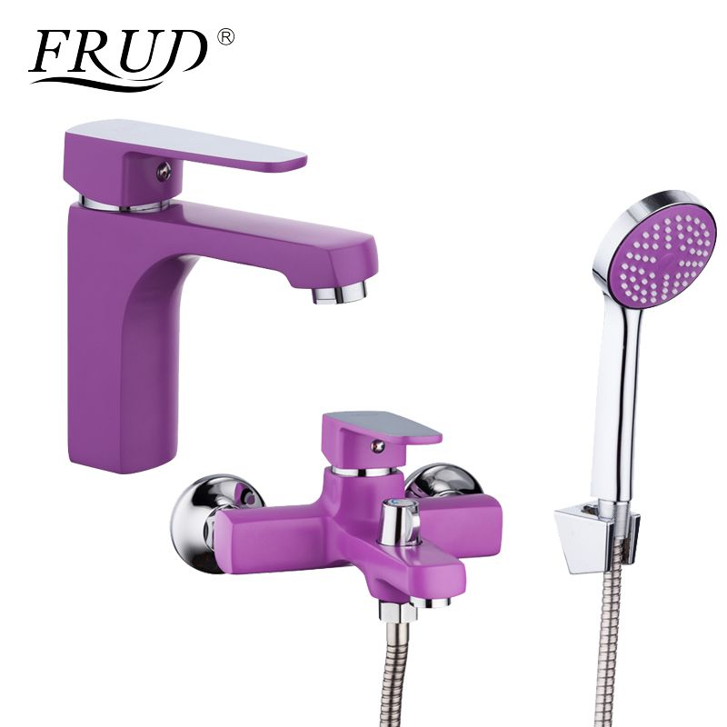 FRUD Innovative Fashion Purple Shower Faucet with Bathroom Basin Faucets Zinc Alloy Boby Cold and Hot Mixer Tap R10302-2+R32302