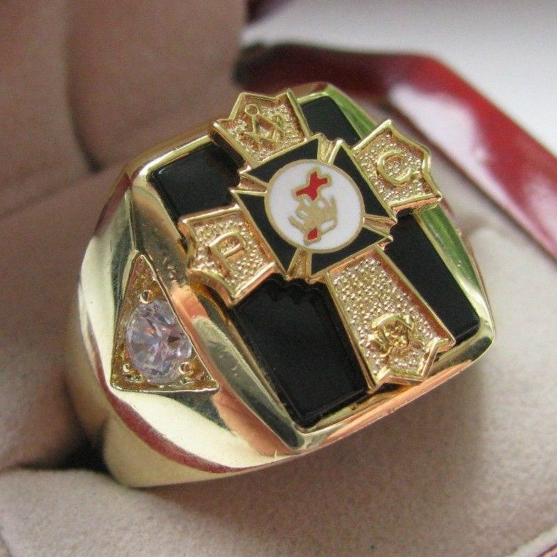 Hot Selling Natural Onyx 18kt Gold Filled NEW Mens Knights TEMPLAR Past Commander Crest Ring *