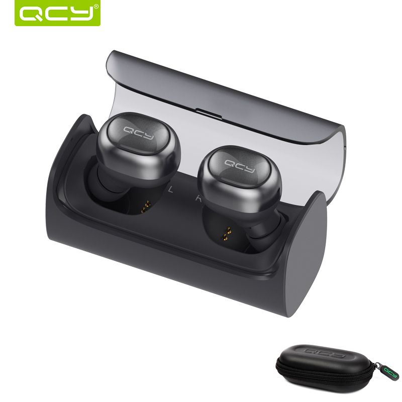 QCY Q29 Wireless bluetooth earphones stereo earphones auto connected earbuds with mic and portable storage box