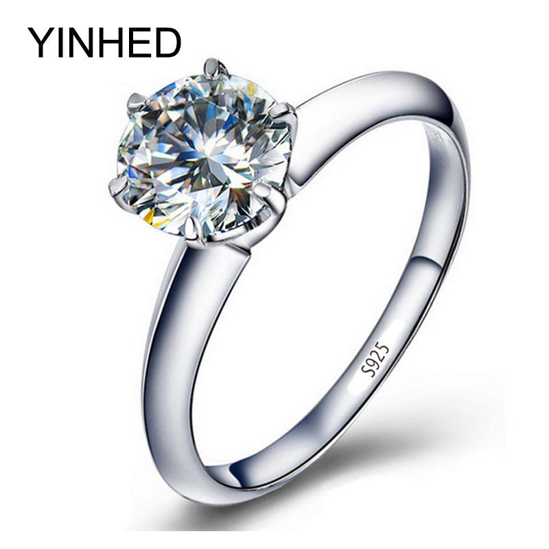 Yinhed wedding band anillo mujeres solitario anillo sólido 925 anillo de plata esterlina 2ct sona anillo de compromiso cz cubic zirconia zr291