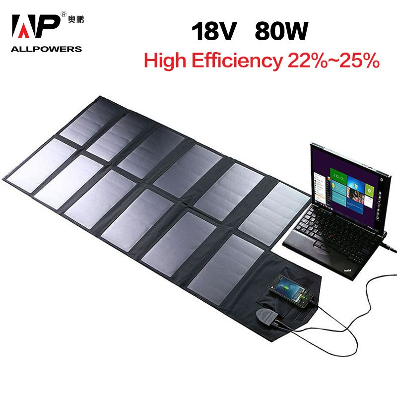 ALLPOWERS Solar Panel 80W Solar Battery Charger for iPhone Sumsung Phones Lenovo HP Dell Acer Laptops 12V Car Battery etc.