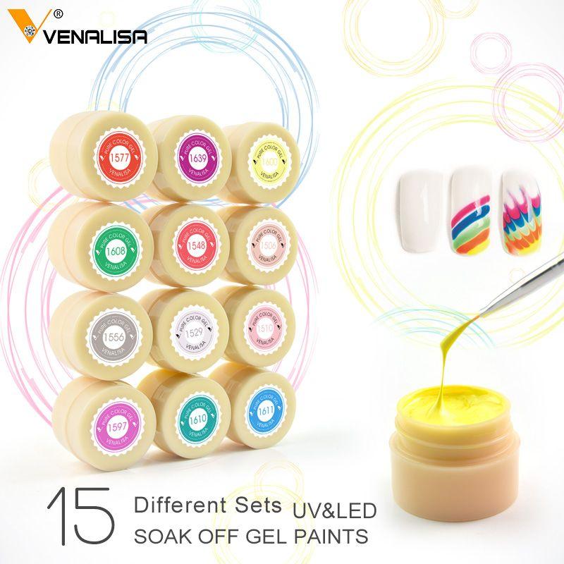 Gel de couleur scintillante CANNI usine Venalisa UV LED Gel de peinture 5 ML 180 vernis de couleur Pure tremper les rides UV LED Gel de peinture pour les ongles