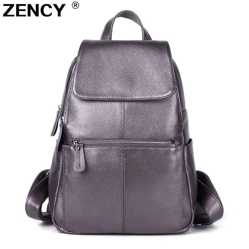 ZENCY 100% Genuine Leather Women White Silver Gray Backpack Cow Leather Ladies Beige Dark Blue Backpacks Travel Casual Rucksack