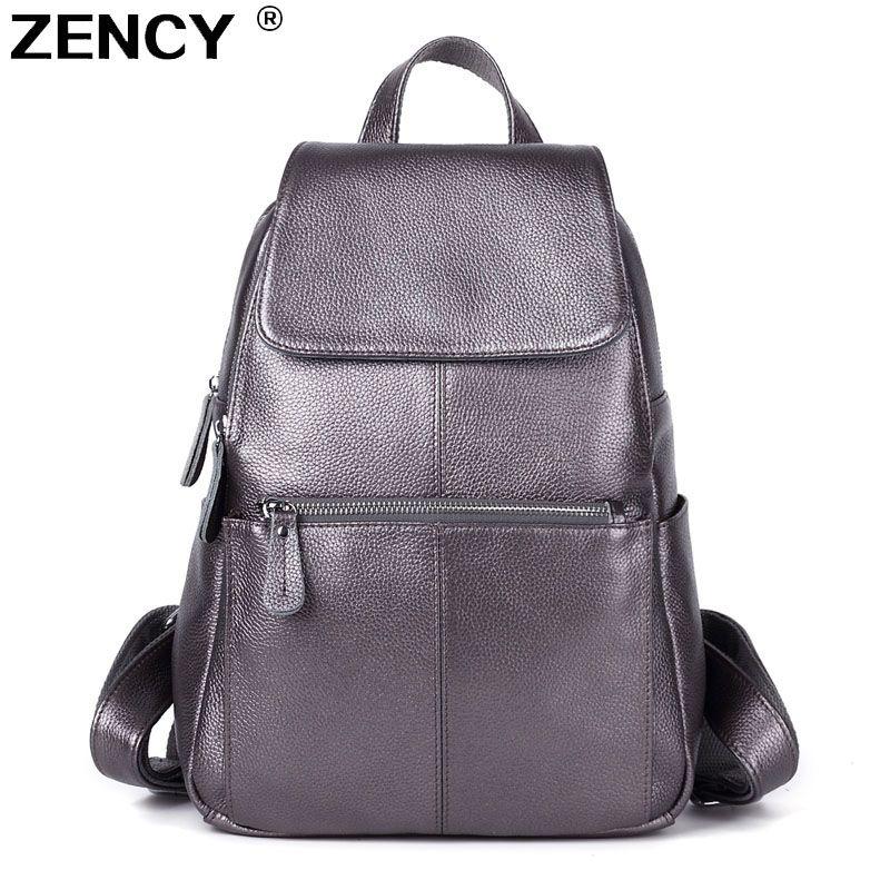 ZENCY 100% Genuine Leather Women White Silver Gray Backpack Cow Leather Ladies Beige Dark Blue Backpacks Travel Casual Rucksack