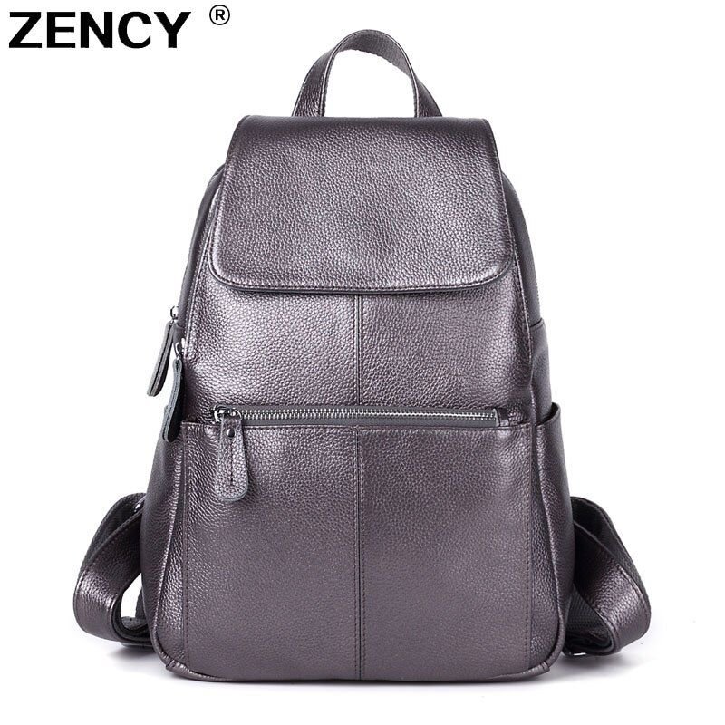 ZENCY 100% Genuine Leather Women White Silver Gray Backpack Cow Leather Ladies Beige Purple Backpacks Travel Casual Rucksack