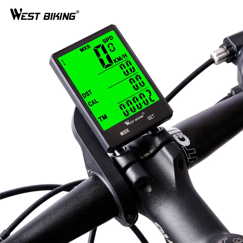 WEST BIKING Cycling <font><b>Speedometer</b></font> 2.8'' Large Screen Waterproof 20 Functions Wireless and Wired Bike Odometer Bicycle Computer