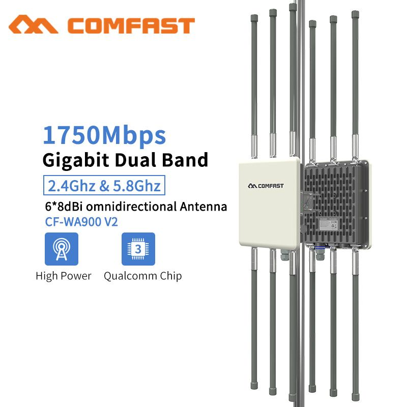 1750Mbps Dual Band 5,8G Outdoor AP 6 * 8dBi Antenne WiFi Abdeckung Basis Station Router WiFi Signal Hotspot verstärker Repeater