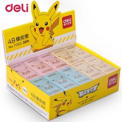 Deli Pokemon Pikachu examen arte dibujo tricolor kawaii borrador para niños Escuela de goma del borrador de lápiz papelería artículos