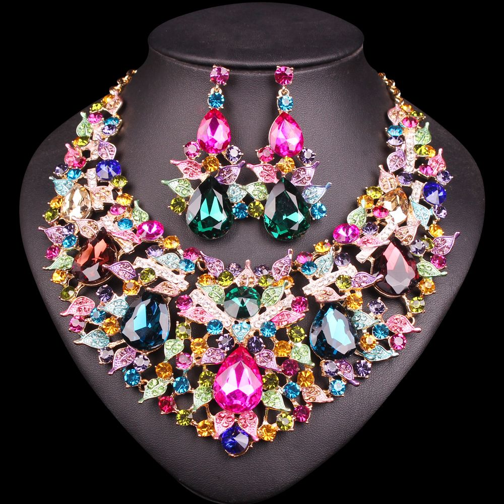 Beautiful Leaf Indian Jewellery Bridal Jewelry Sets Rhinestone Party Wedding Prom Costume Accessories Necklace Earring Set Women