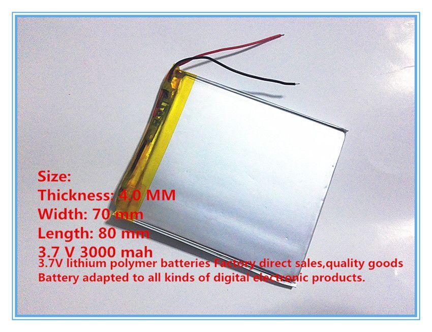 3.7V 3000 mAh Polymer Lithium Battery LiPo For GPS Tablet PC 407080