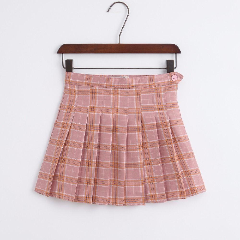 Korean of the new high waist short skirt college wind a word lattice skirt women