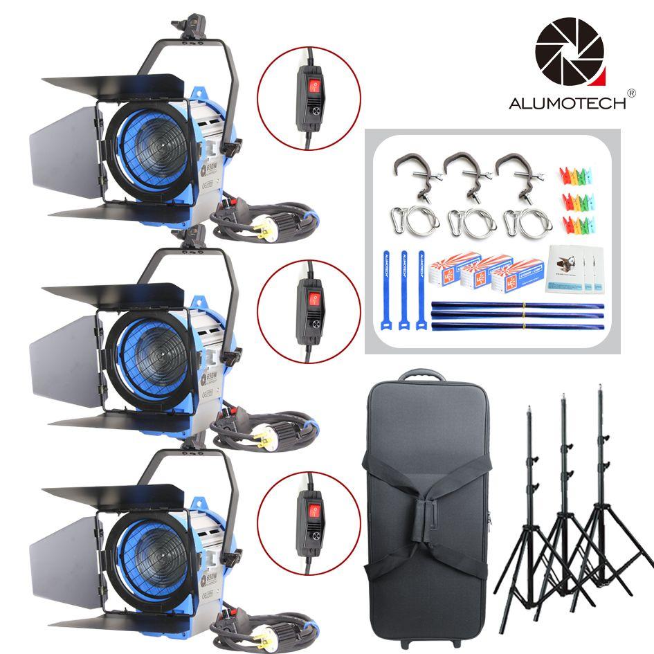 ALUMOTECH Wie ARRI Dimmer Eingebaute 650 W Fresnel Wolfram Spot LightX3 + Air Kissen StandX3 + Fall Lampe Kit Für studio Fotografie