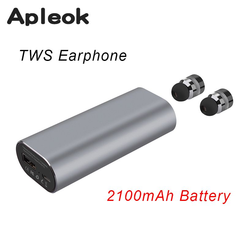 2017 New TWS Mini Bluetooth headset Stereo Music Earphone built-in Mic Small Wireless Earbud with 2100mAh Recharge battery