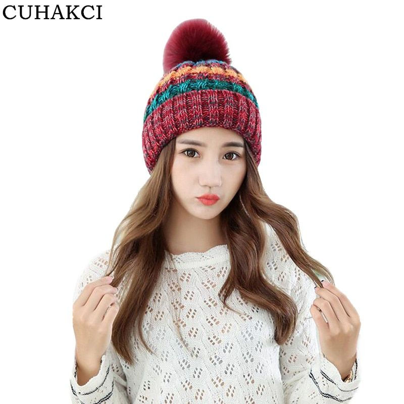 CUHAKCI Winter Knitted Beanies Outdoor Hat Woolen Ski Fur Keep Warm Skullies for Women Hats Girls Clip High Quality 2017