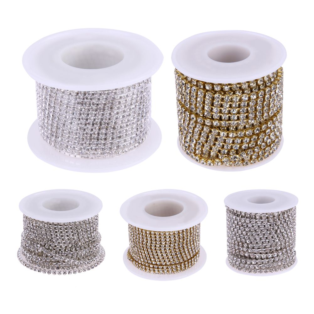 Clear Crystal SS8-SS16(2.5mm-4mm) Silver Gold Base Rhinestone Chains 10Yards/Roll Apparel DIY Sewing Accessories