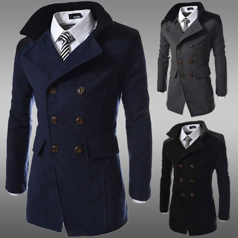 fashion 2017 brand cheap winter long trench coat men good quality double breasted wool blend overcoat for men size 3xl