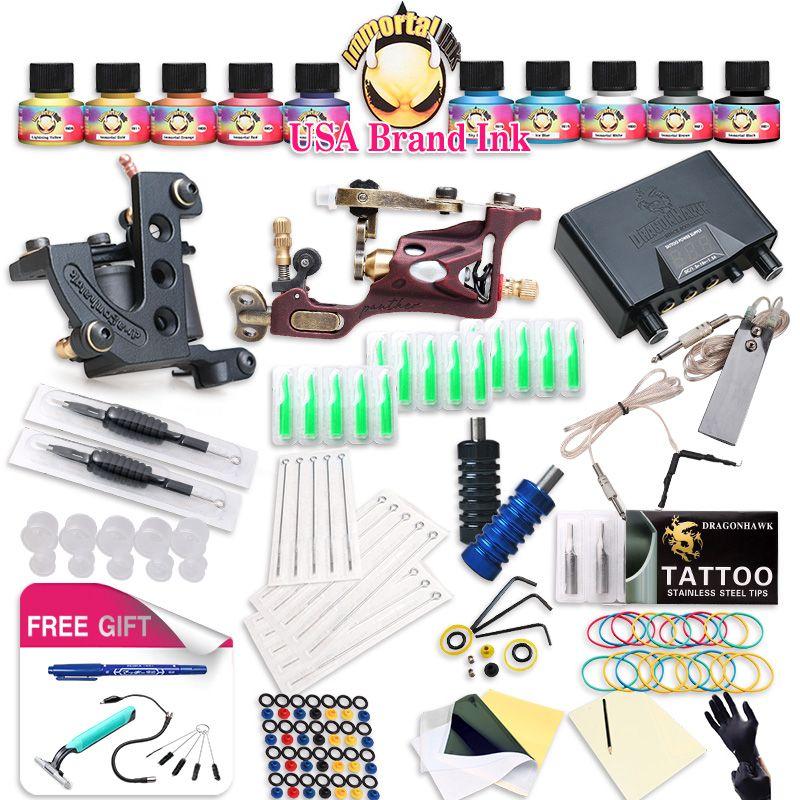 Top Freies Schiff Komplette Tattoo Kit Rotary Tattoo Maschine Spulen maschine Heiße Verkäufe Dragonhawk Stromversorgung 10 Farben USA Tinte Set