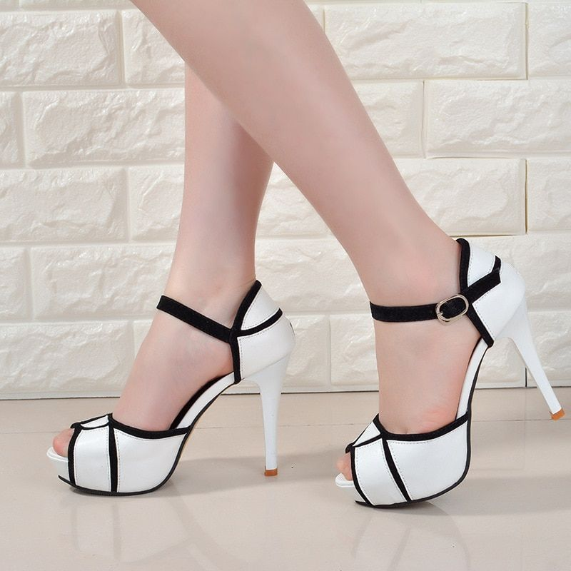 Summer hollow buckle women's shoes European and American fight color <font><b>fish</b></font> mouth fine with high heels young daily shoes