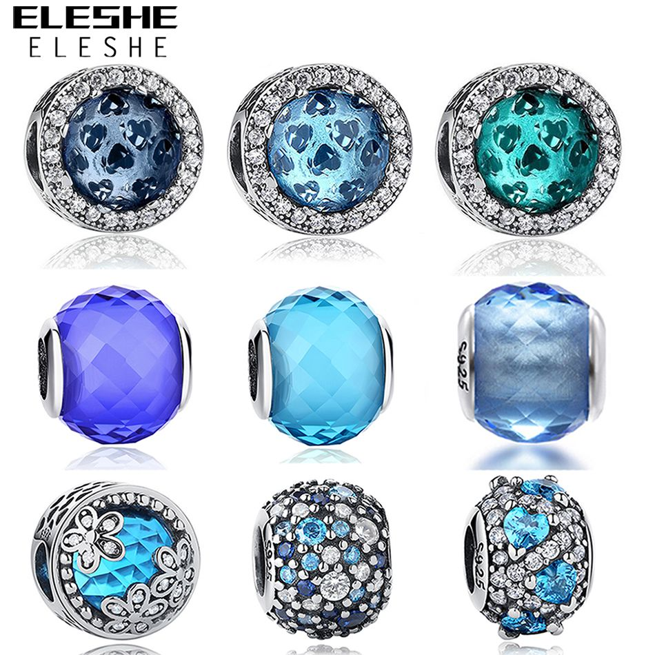 European 925 Sterling Silver Jewelry Blue CZ Crystal Faceted Murano Glass Beads Fit Eleshe Original Charm Bracelets DIY Jewelry