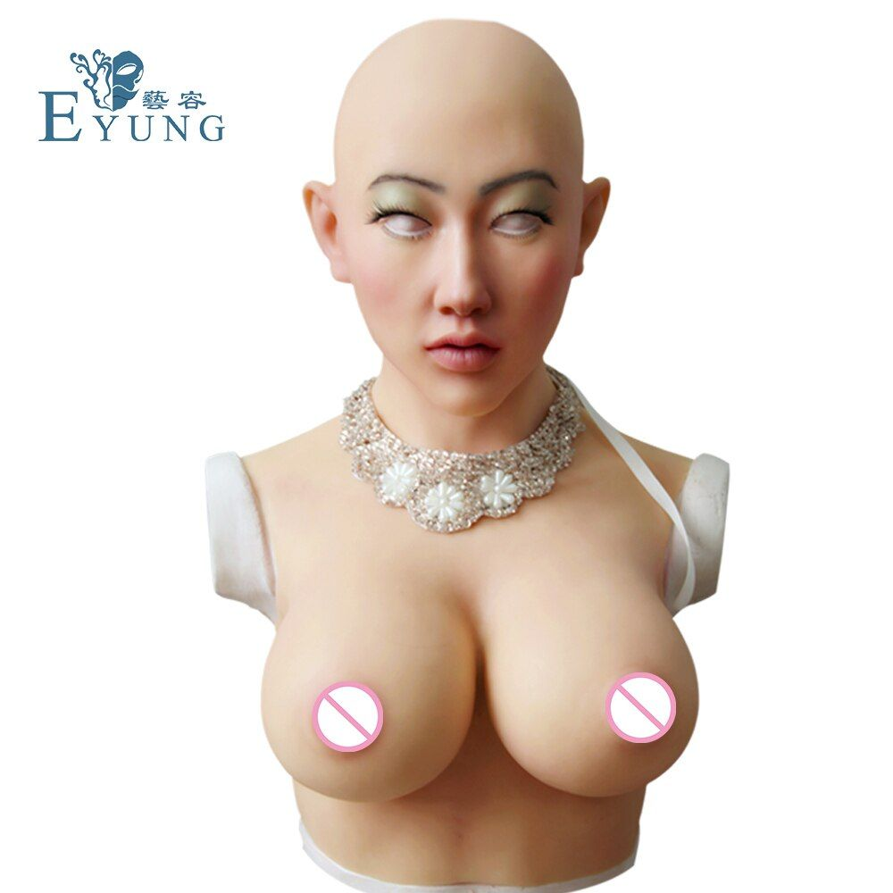 Shivell headwear with female boobs and goddess face artificial breast forms for crossdresser Halloween masquerade More feminine