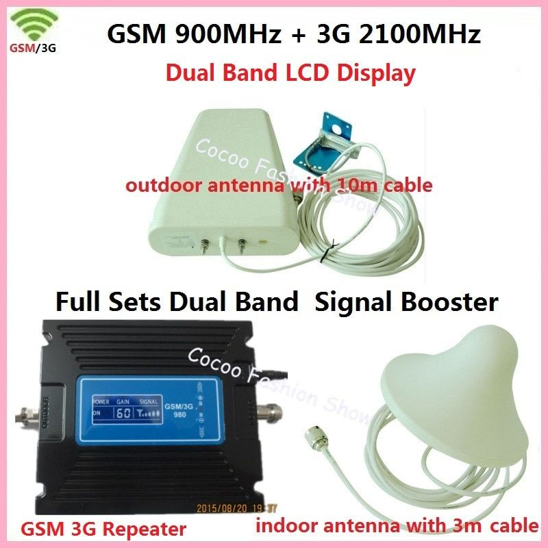 LCD Repeater ! Dual Band FDD 3G UMTS W-CDMA 2100MHz + 2G GSM 900Mhz Cell Mobile Phone Signal Booster GSM Repeater 3G Amplifier