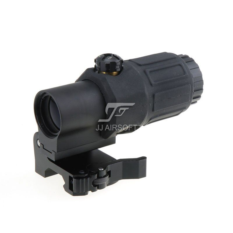JJ Airsoft 3X Magnifier with Switch to Side STS Quick Detachable / QD Mount (Black / Tan)