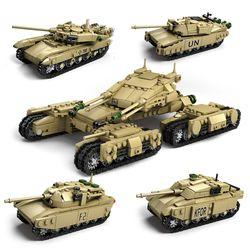 1242 Pcs Army Model Tank 4 In 1 Kumpulan Blok Bangunan Set Kompatibel Legoed Senjata Militer Tank DIY Batu Bata Anak-anak mainan