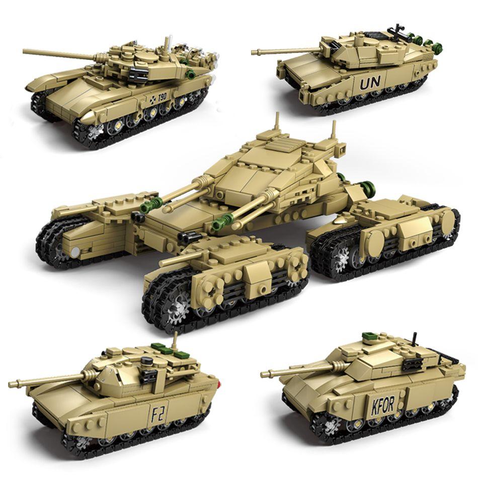 1242 pcs Armée Kazi Modèle Réservoirs 4 Dans 1 Assemblage Building Blocks Set Compatible Legoed militaire réservoir DIY Briques Enfants jouets