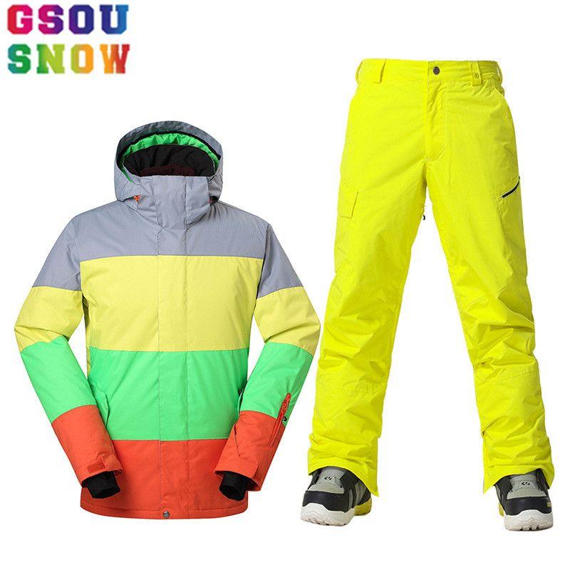 GSOU SCHNEE Marke Winter Ski Anzug Männer Ski Jacke Hosen Wasserdichte Snowboard Sets Outdoor Skifahren Snowboarden Schnee Anzug Sport Mantel
