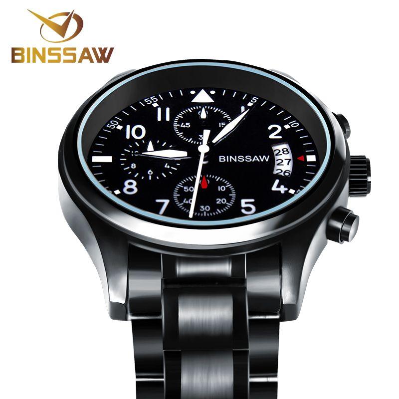 BINSSAW Brand New Men Luxury Quartz Watch Stainless Steel Fashion Leather <font><b>Waterproof</b></font> Luminous Sports Watches Relogio Masculino
