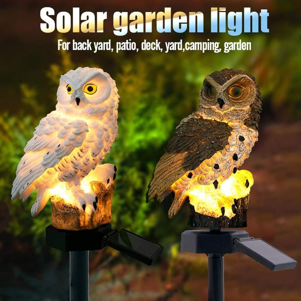 LED Garden Lights Solar Owl Shape Stake Light Solar-Powered Lawn Lamp Home Garden Decorative Outdoor Lawn Yard Lamp