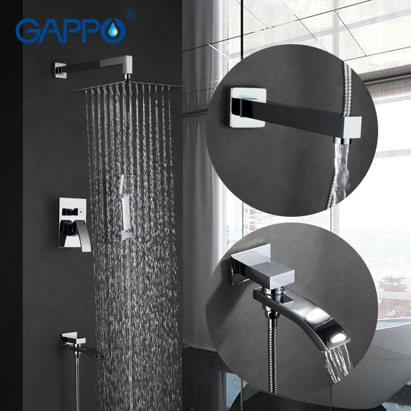 GAPPO Wall bathroom shower faucet spout set rainfall bath faucet chrome bathtub faucet tap shower head Bath Shower in han shower