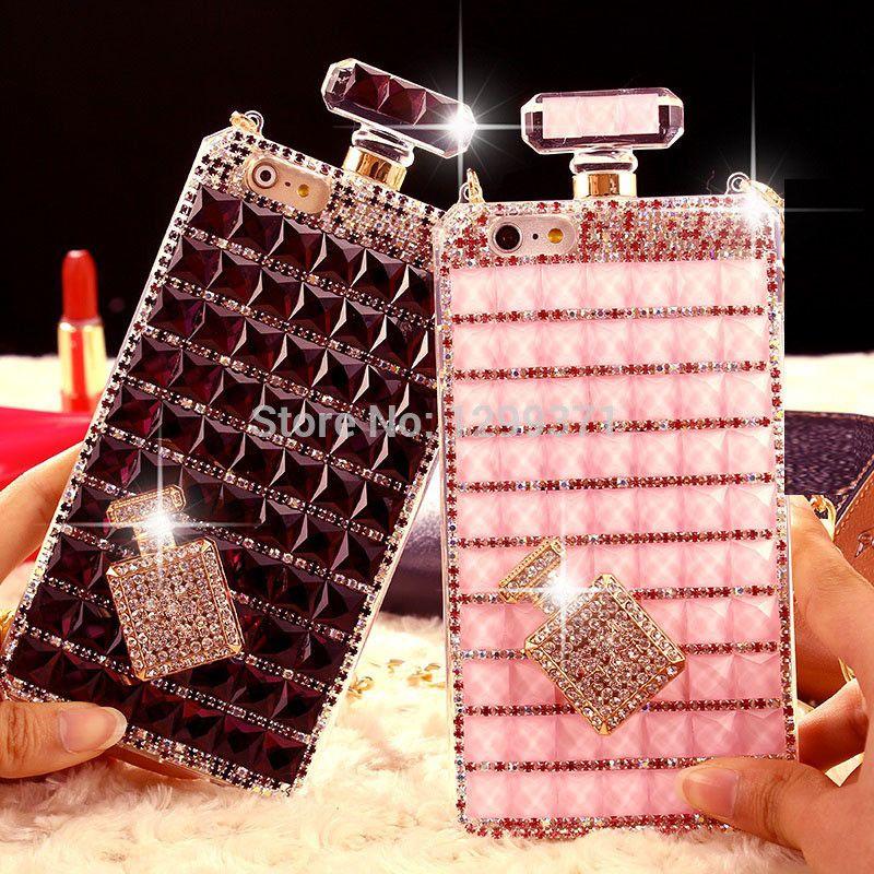 Dower Me Bling bouteille de parfum diamant chaîne sac à main étui pour iphone XS Max XR X 8 7 6 S Plus 5 Samsung S9/8/7/6 bord Note 9 8 5 4