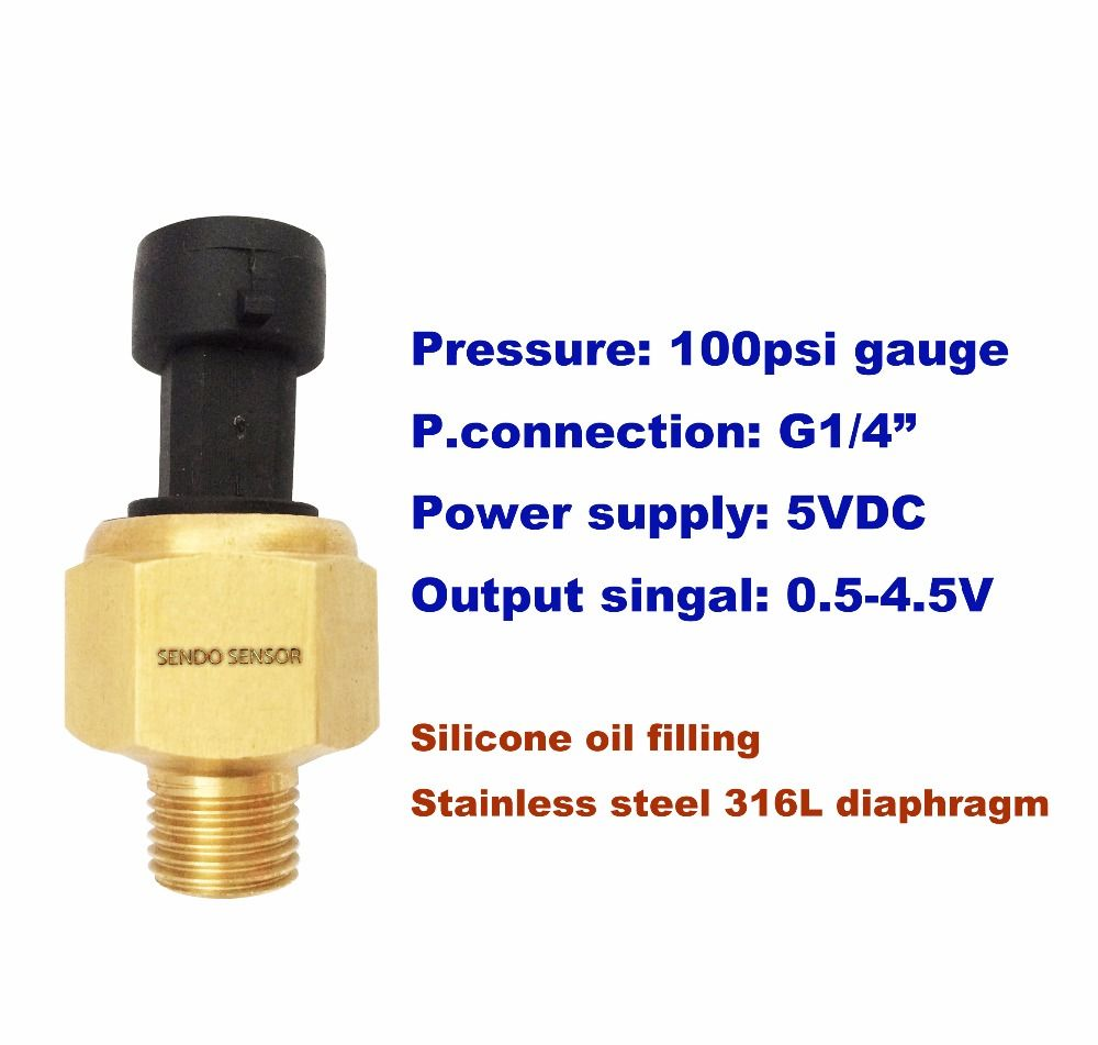 100psi(g),oil fuel gas water pressure sensor 5Vdc supply, 0.5-4.5V signal, stainless steel diaphragm, siliconeoil filling, G1/4