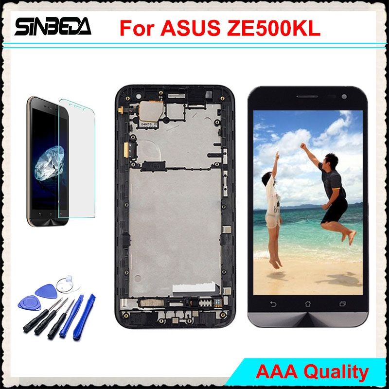 Sinbeda AAAAA LCD Display For ASUS Zenfone 2 Laser ZE500KL Touch Screen with Frame Digitizer Assembly For ZE500KL 5.0
