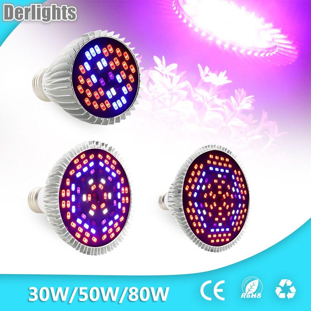 30W/50W/80W Led Grow Light Full Spectrum UV+IR E27 Grow Light For Flowering Plant and Hydroponics System LED  Lamp AC85~265V