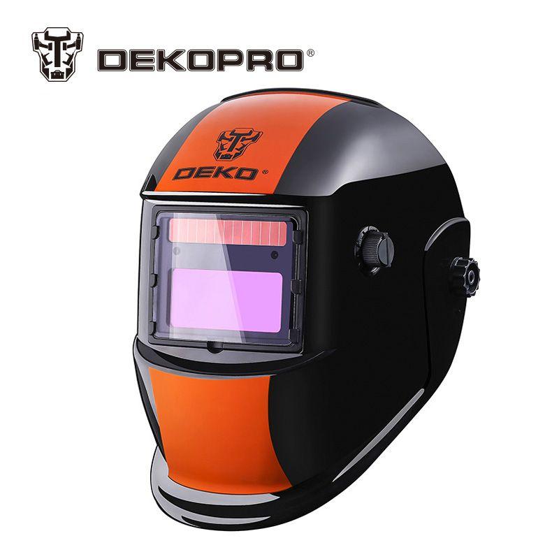 DEKOPRO Orange Stripes Solar Auto Darkening MIG MMA Electric Welding Mask Helmet for Welding Machine or Plasma Cutter