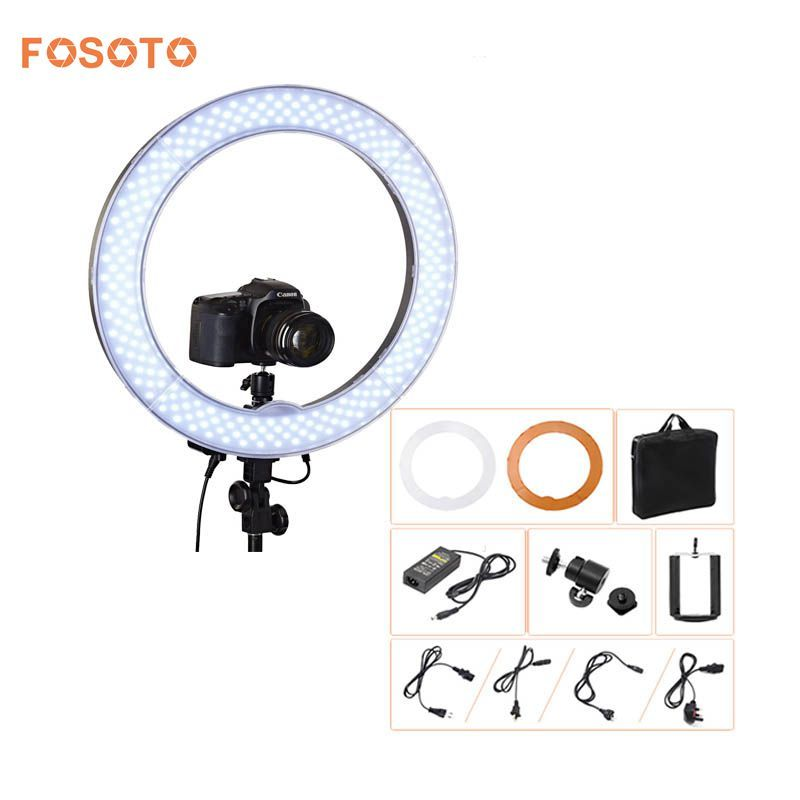 fosoto Camera Photo Video 18RL-18 240 LED Ring Light 5500K 55W Dimmable Photography Ring Video Light lamp for Camera Fill Light