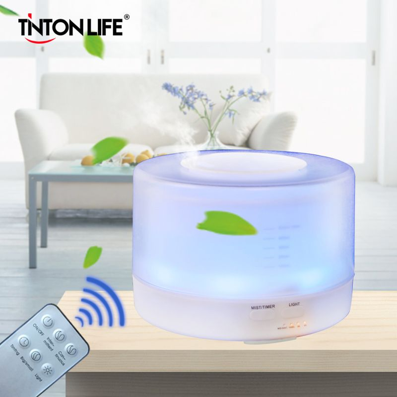 TINTON LIFE 500ml Remote Control Colorful LED Aromatherapy Air Humidifier Ultrasonic Mist Maker Aroma Essential Oil Diffuser
