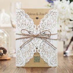 1 Design Laser Cut White elegant Pattern West Cowboy Style Vintage Wedding invitations Card Kit Blank Paper Printing Invitation