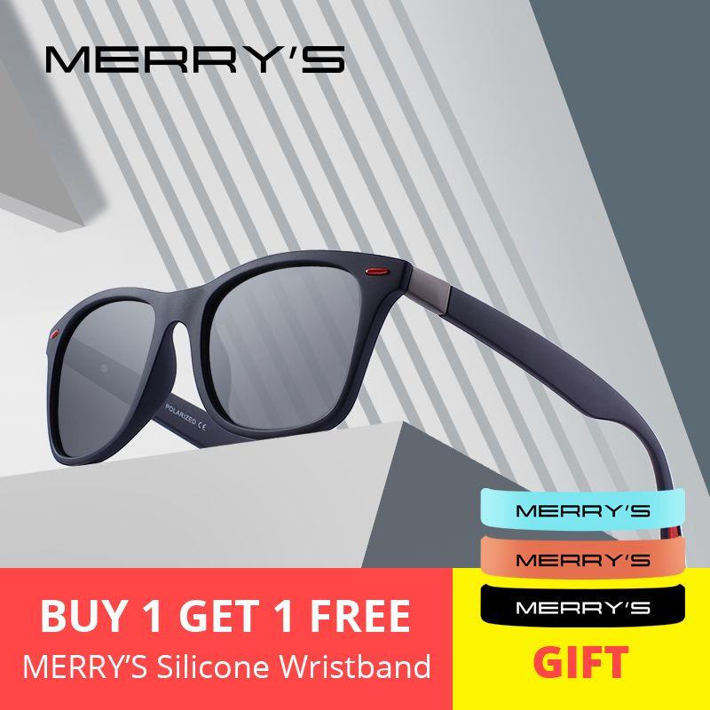 MERRYS DESIGN Men Women Classic Retro Rivet Polarized Sunglasses Lighter Design Square Frame 100% UV Protection S8508