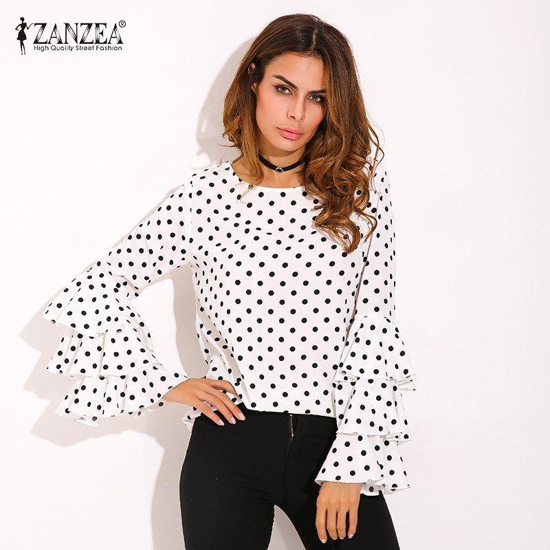 Plus Size ZANZEA Womens Polka Dot Ruffle Flouncing Long Flare Sleeves O Neck Blouse Fashion <font><b>Office</b></font> Female Tops Shirt Blusas 2018