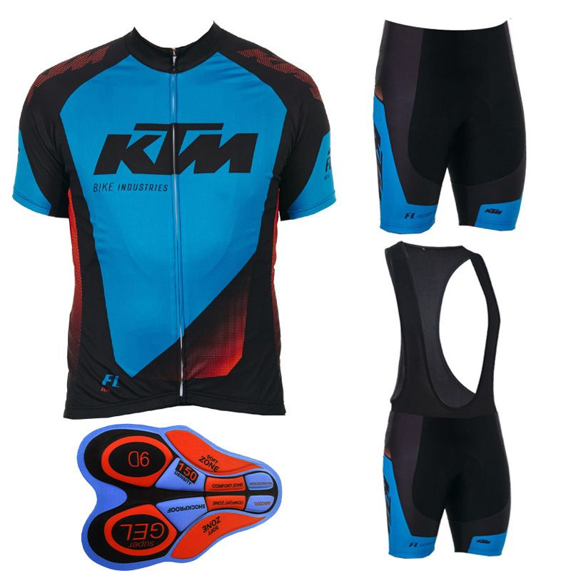 2017 Ktm Men Cycling jersey bicycle cycling clothing summer ropa ciclismo hombre mtb bike shirts/bib shorts with 9D gel pad F194