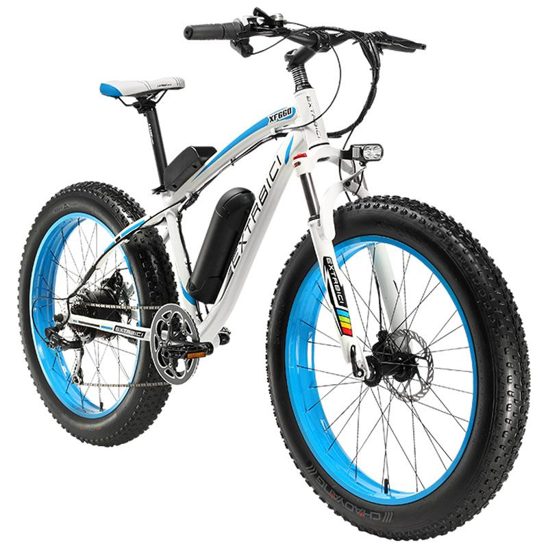 Cyrusher XF660 4.0 Fat Tire Electric Bike 500Watt 48V 10.4ah 7 Speeds Mechanical Disc Brake with Adjustable Handlebar Bike Light