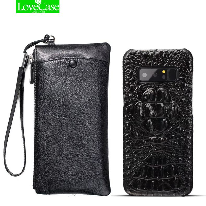 LoveCase Real Leather Wallet + Back Cover For samsung galaxy note 8 Luxury Genuine Leather Back Cover For galaxy note8 case bag