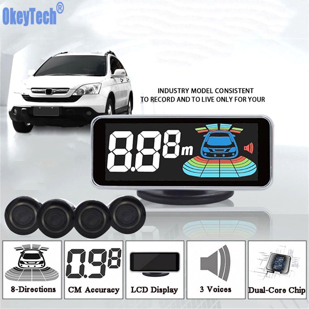 OkeyTech Parktronic Parking Sensor 4 Sensor Reversing Radar Detector LED Digital Car Parking Assistance Alarm System FOR All Car