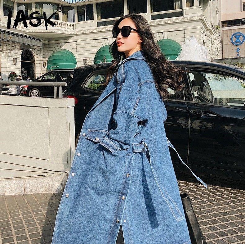 [IASK] 2018 Spring Summer New Pattern Belt Waist Spilt Button Hem Full Sleeve Jacket Ladies Fashion Denim Long Coat BA261
