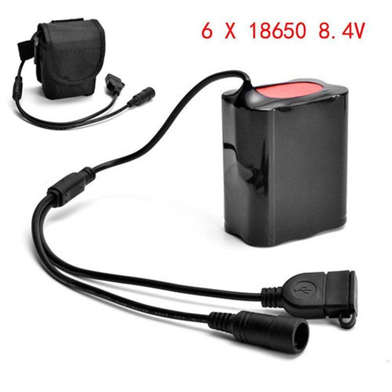 battery Bright 8.4V USB Rechargeable 12000mAh 6X18650 Battery Pack For Bicycle light Bike Torch luces bicicleta  170726  P30